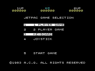 Jetpac game menu